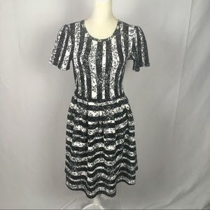LuLaRoe Amelia Stripe Floral Short Sleeve Dress